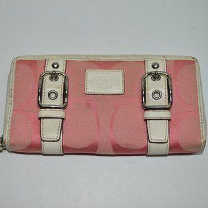 Coach Zoe Signature Double Buckle Zip Wallet Pink